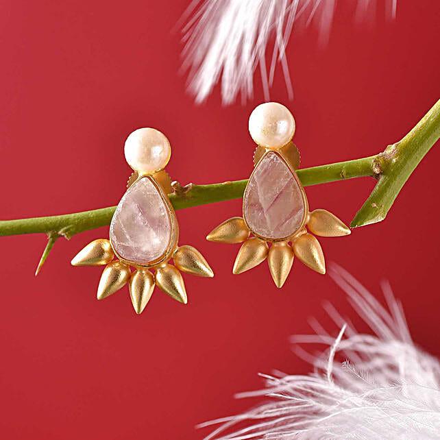 Semi Precious Stone Gold Polished Earrings