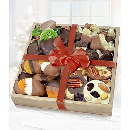 Belgian Chocolate Covered Dried Fruit Wooden Tray