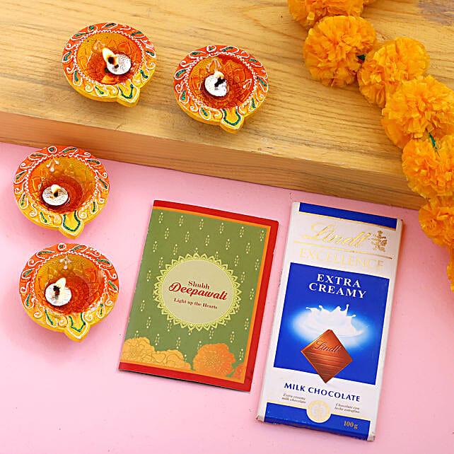 Diwali Diya Set With Greeting Card & Lindt:Diwali Gift Delivery in USA