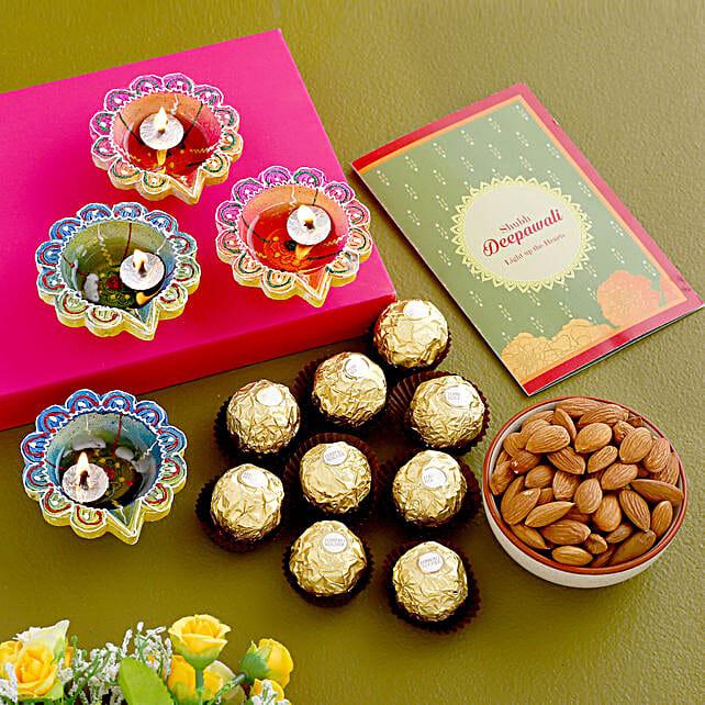 Diwali Greetings With Chocolates And Almonds:Diwali Diyas USA