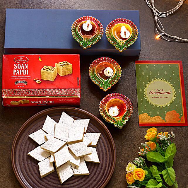 Diwali Special Floral Diyas And Sweets Hamper:Diwali Diyas USA
