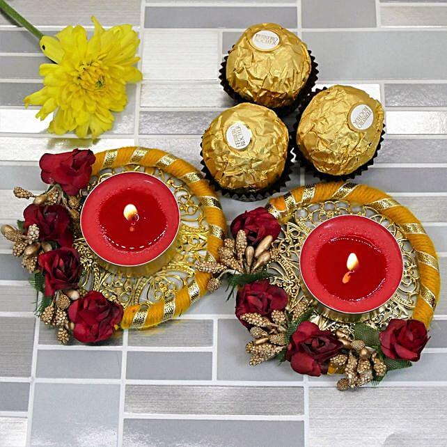 Happy Diwali Floral Diyas And Ferrero Rocher