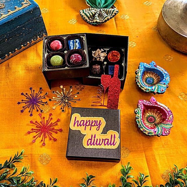 Diwali Vibes Chocolates Tower And Diyas Hamper