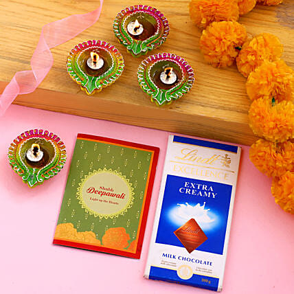 Diwali Special Floral Diyas With Greeting Card And Lindt