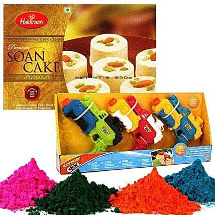 Water Guns with Holi Colors and Soan Cake