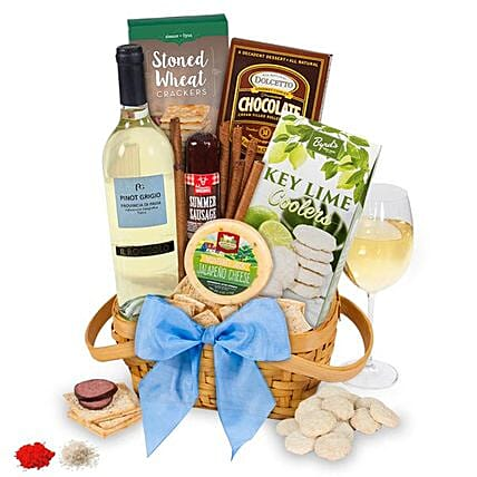 White Wine Gift Basket For Sis:Send Bhai Dooj Gifts to USA