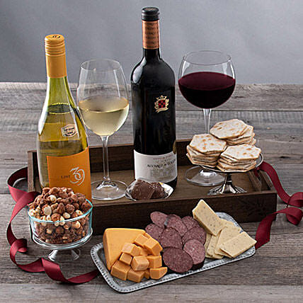 Wine Party Picnic Gift Crate:Send Wine Gift Basket to USA