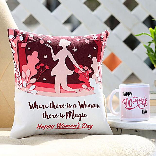 Women's Day Cushion and Mug Combo