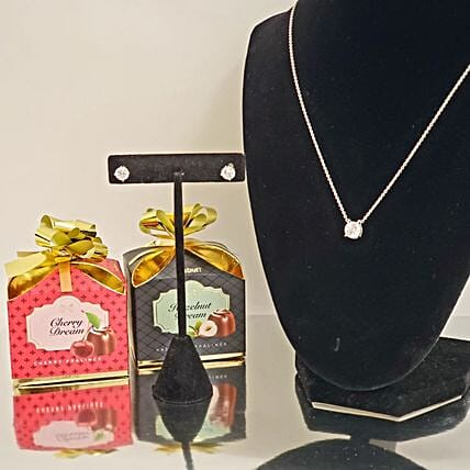 Zirconia Jewelry And Chocolates Gift Set:Premium Gifts Delivery in USA