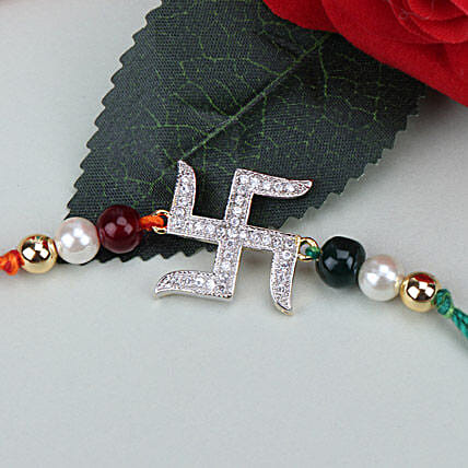 Swastik Beauty American Diamond Rakhi WES